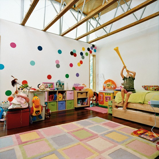 Modern Childrens Room With Colourful Wall Art: 2 X Stunning Contemporary Kids Feature Wall Ideas