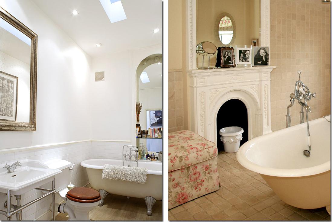Vasca da bagno co shabby chic interiors - Vasca da bagno pavimento ...