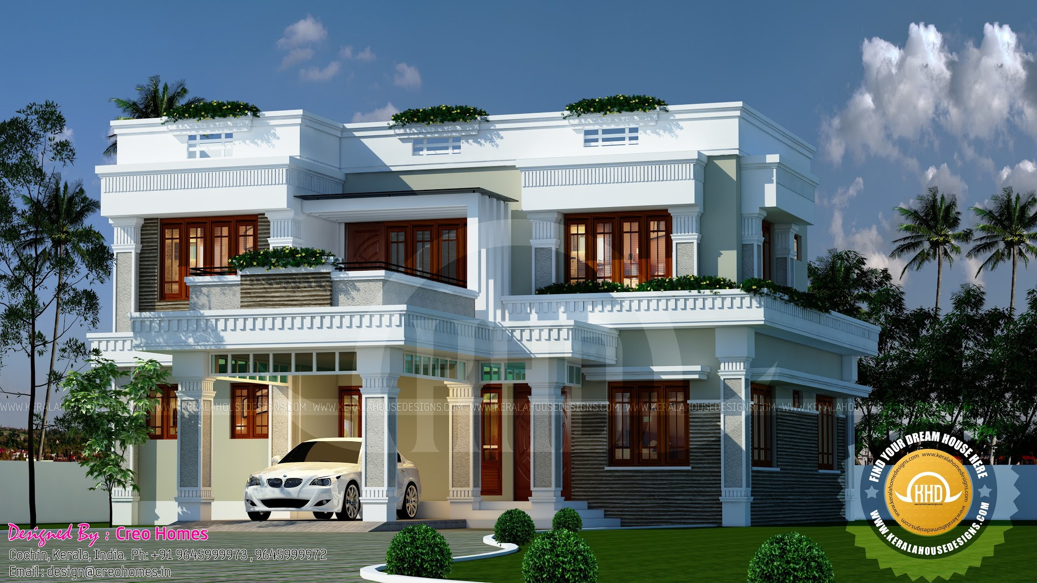 Decorative flat roof home plan kerala home design and floor plans - Kerala exterior model homes ...