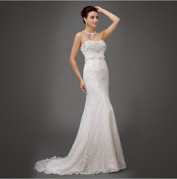 Beaded trumpet trailing pretty wedding gown my gown dress for Beaded trumpet wedding dress