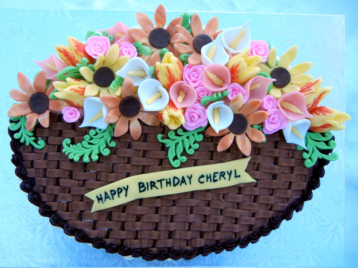 Birthday Cake Images And Flowers ~ Ronna s flower basket cake