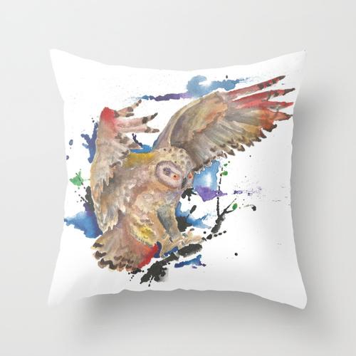 sebastian orth - watercolor owl throw pillow