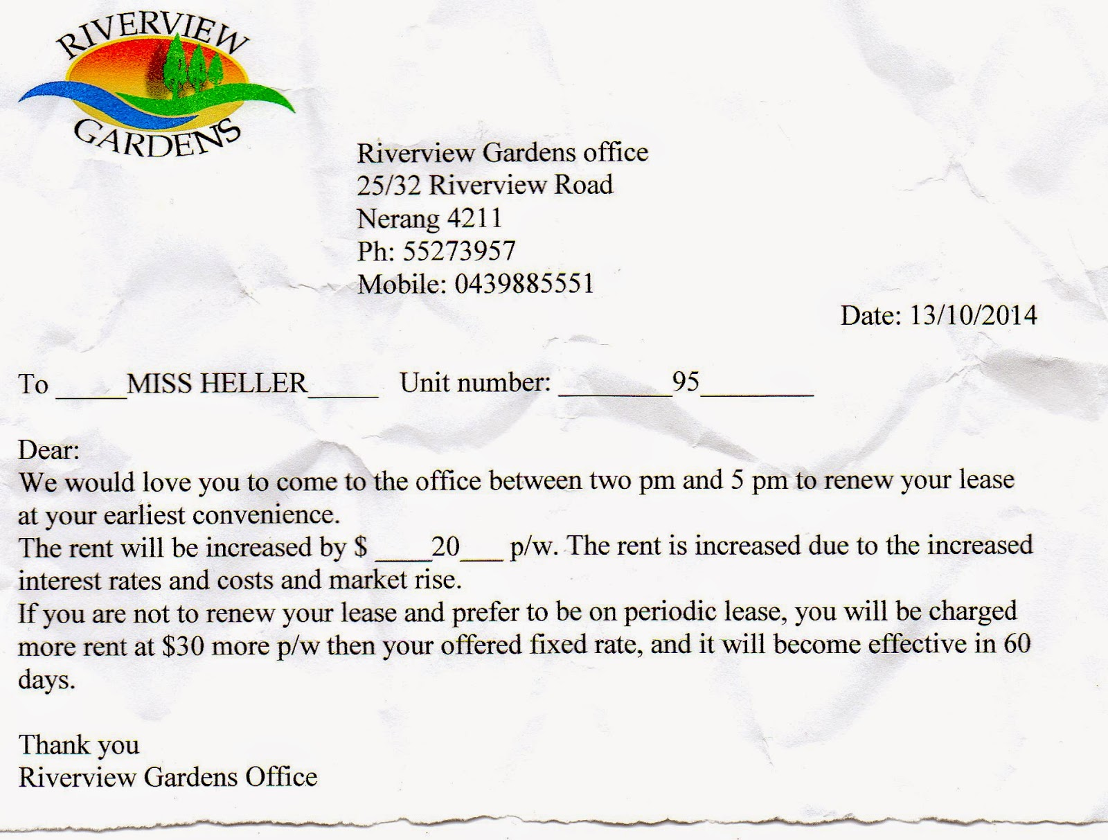 letter for rental increase