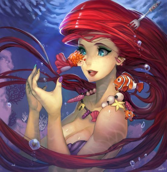 Hector Sevilla deviantart ilustrações mulheres sensuais fantasia estilo anime mangá Pequena sereia