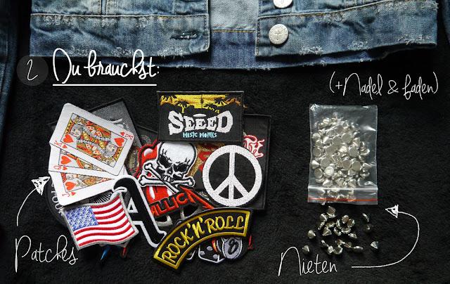 fashion love diy jeans jacke mit patches nieten r cken. Black Bedroom Furniture Sets. Home Design Ideas