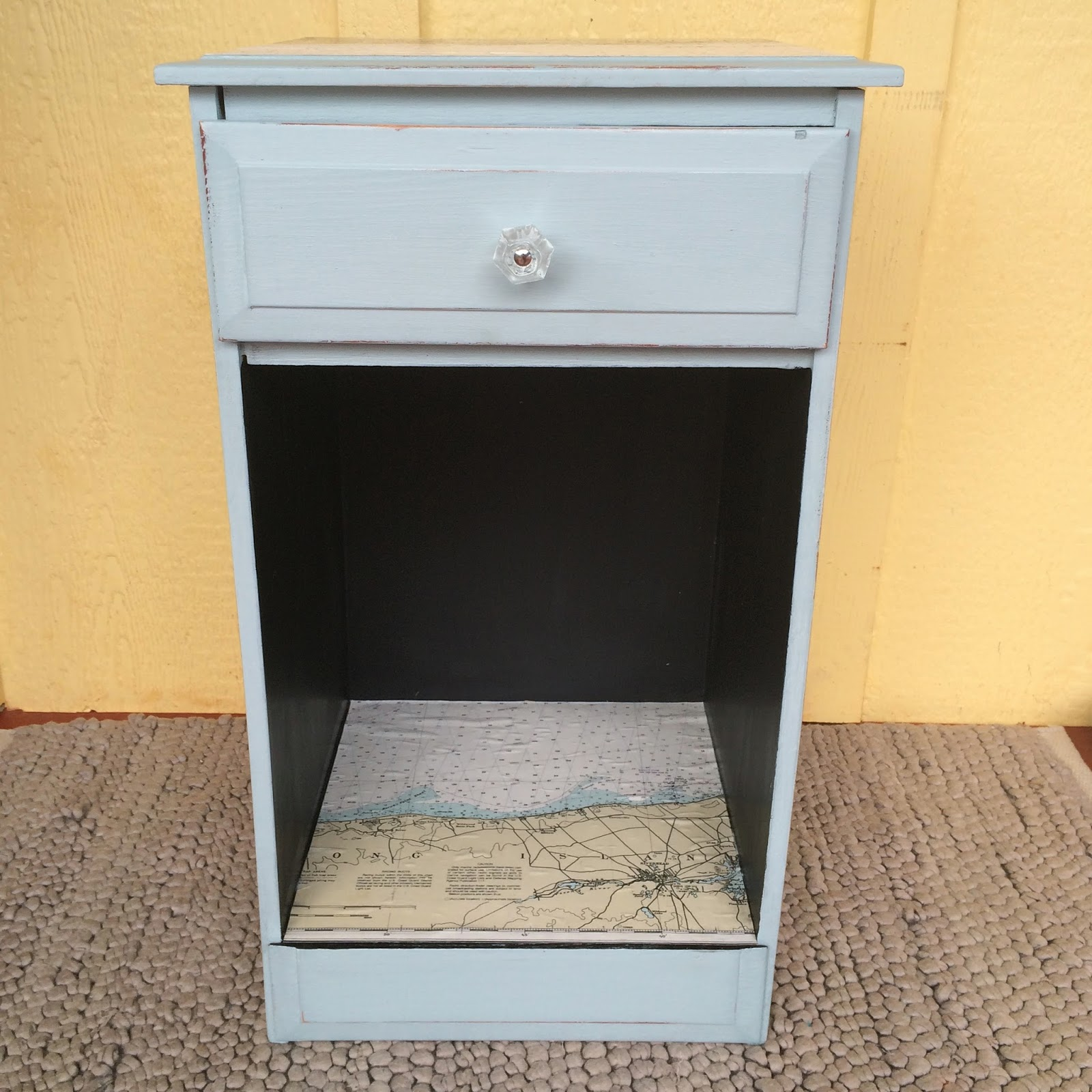 before and after chalk paint black and blue side table with nautical map accents