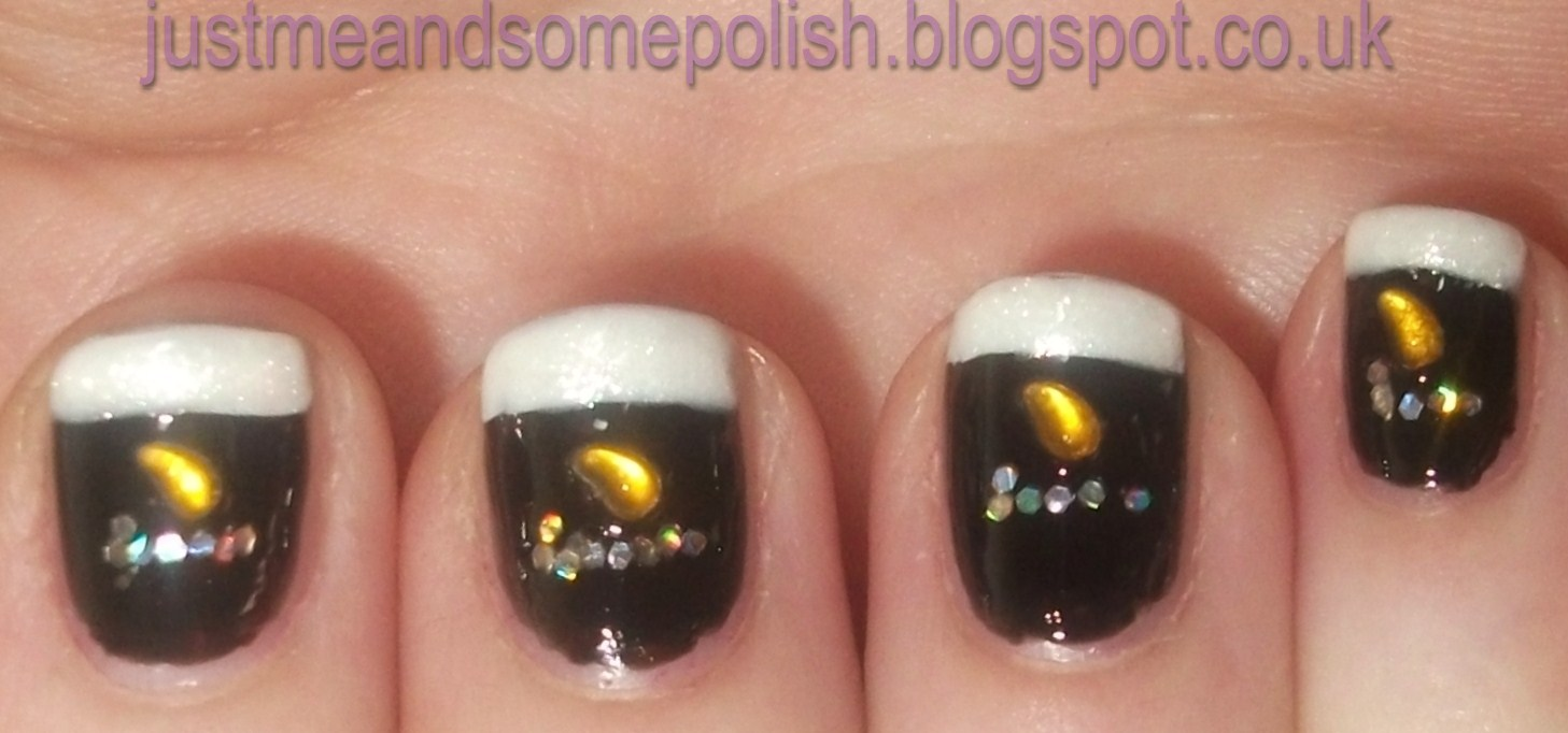 Just me.... and some polish: Requested Nail Art - Guinness Nails
