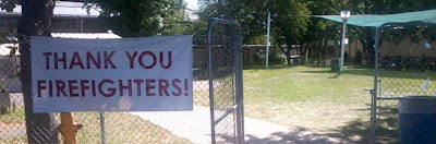 """Thank you Firefighters"" sign at Lake County Fairgrounds"