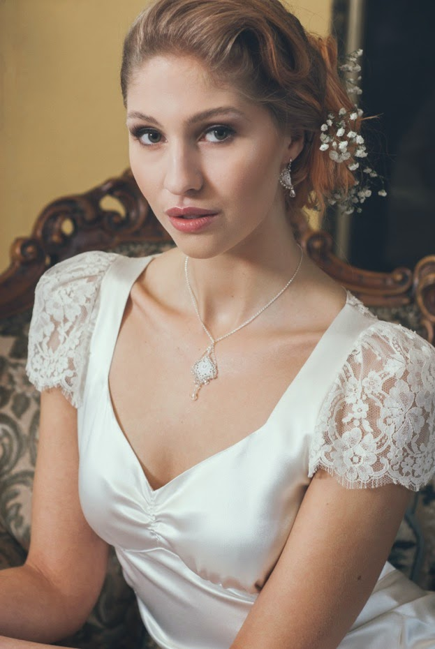 Heavenly Vintage Wedding Dresses VIOLETTE and Judith Brown jewellery