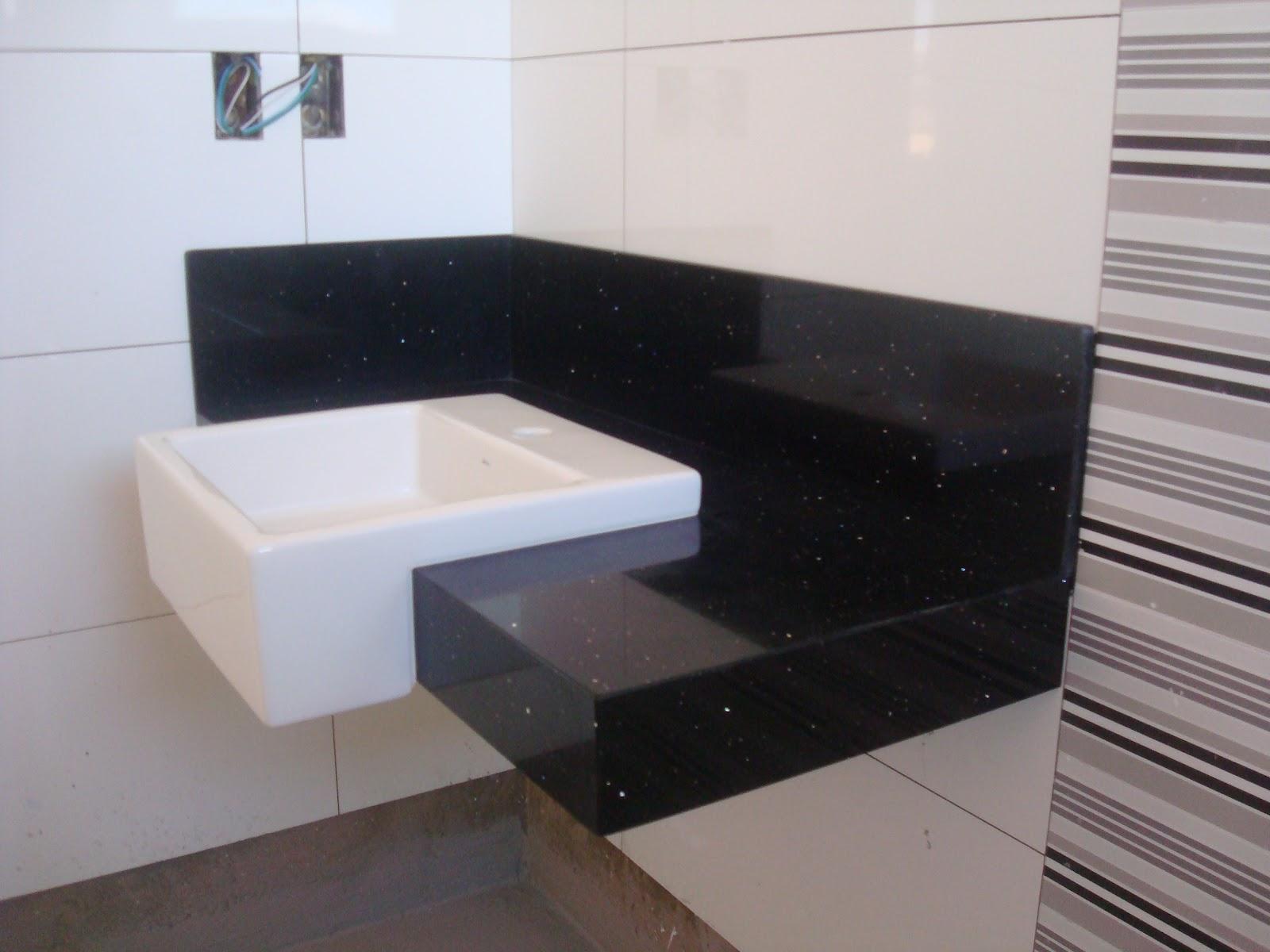 Bancadas de Silestone preto stelar #726159 1600x1200 Bancada Banheiro Azul