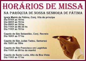 Missas na Paróquia de Fátima, zona norte de Caicó da 2ª semana