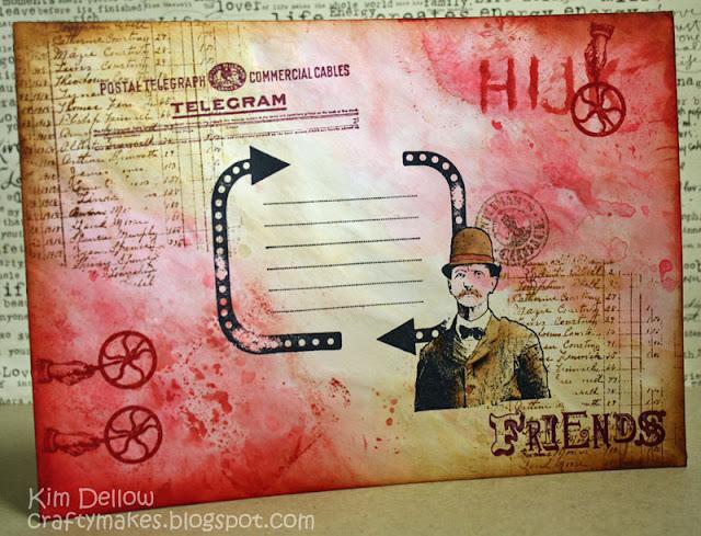 конверт, украшенный своими руками в стиле стимпанк с использованием стемпинга