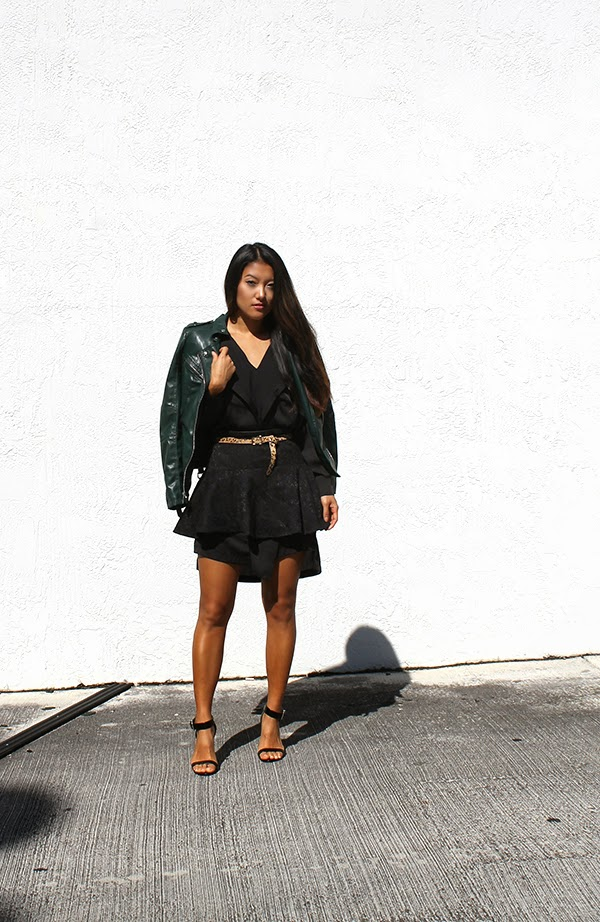 Guess Moto Jacket, leather jacket, green leather jacket, little black BCBG Maxazria dress, leopard print belt, target, target belt, ASOS shoes, lucite heels, flouncy skirt, a-line skirt, black skirt, how to wear a black dress, style by lynsee, fashion blogger, miami fashion blogger, asian blogger, holiday look, winter fashion, popsugar fashion, outfit of the day, lucky magazine, teen vogue, marie claire