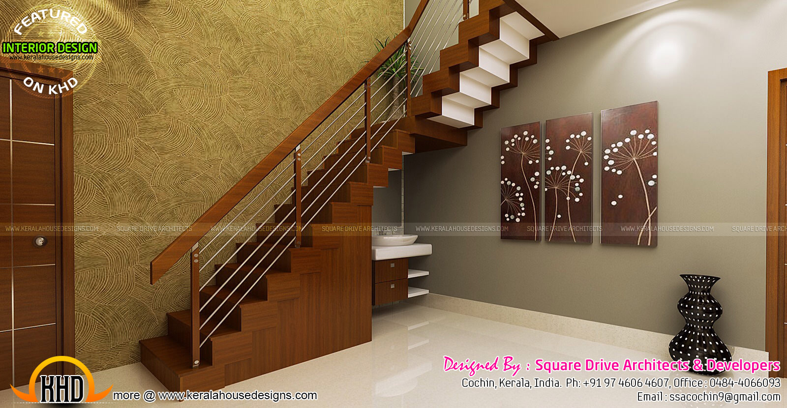 Stair area upper living bedroom interiors kerala home for Interior design ideas for small homes in kerala