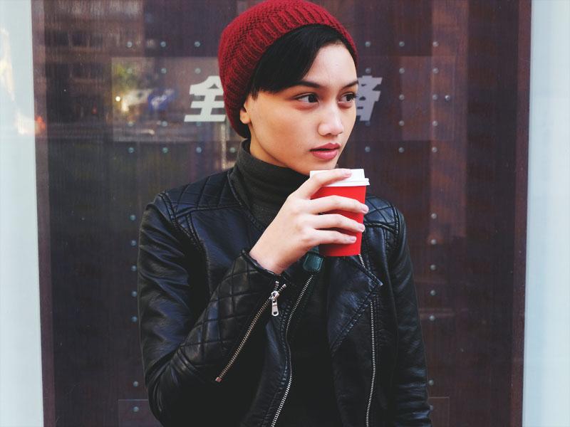 Brunei Girl drinking coffee in Yokohama