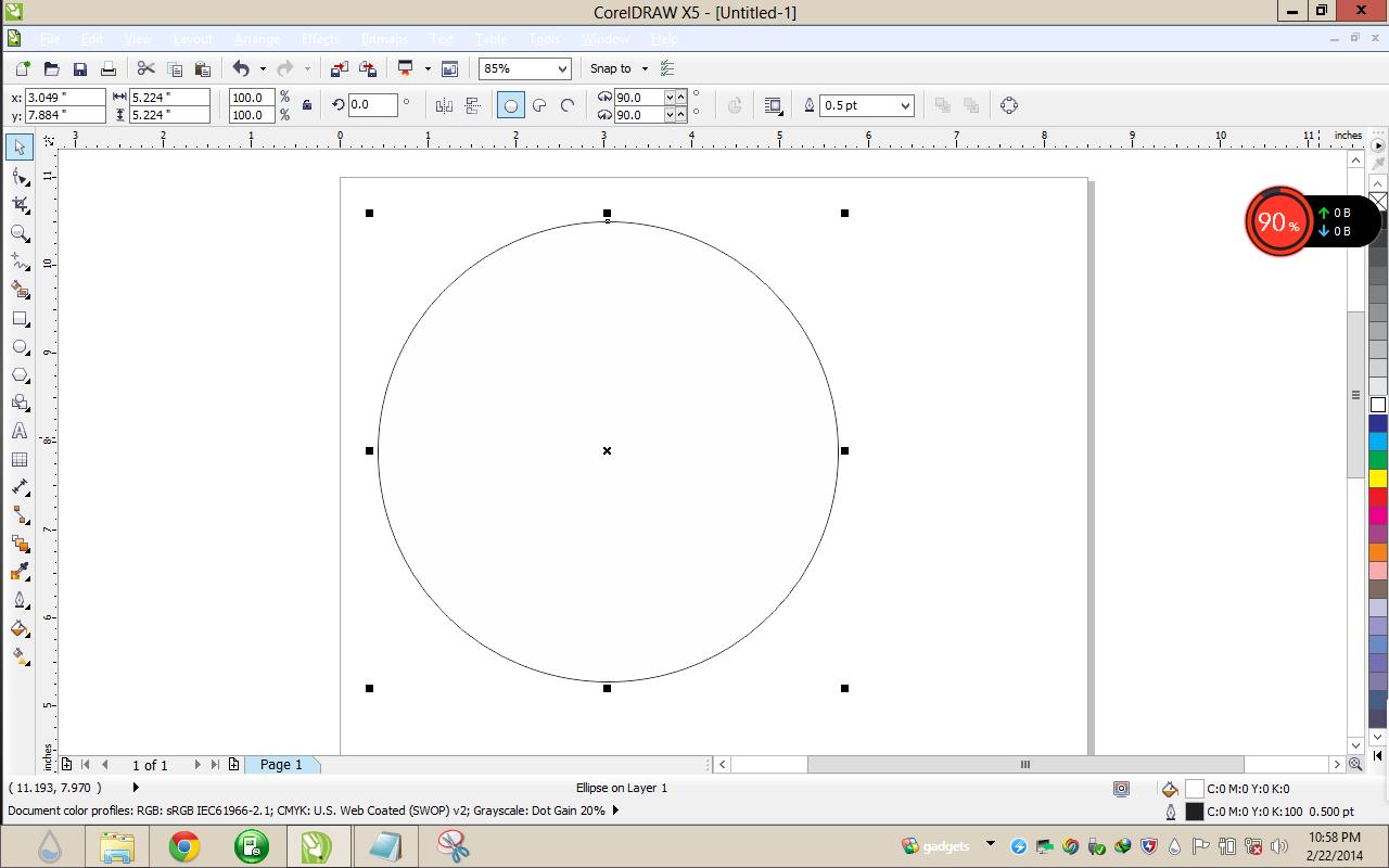 Membuat Lingkaran di corel draw