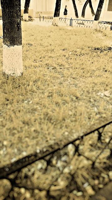 Девушка курит у станции Каланчевская. Около-железнодорожное. Фотография черно-белая сепия палисадник сквер трава деревья