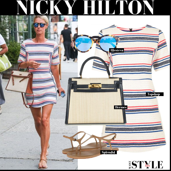 Nicky Hilton in striped mini Topshop dress with Hermes Kelly bag streetstyle