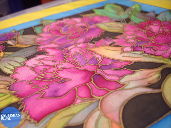 Silk painting oriental flowers for charity zaufishan islamic art design silk mightylinksfo