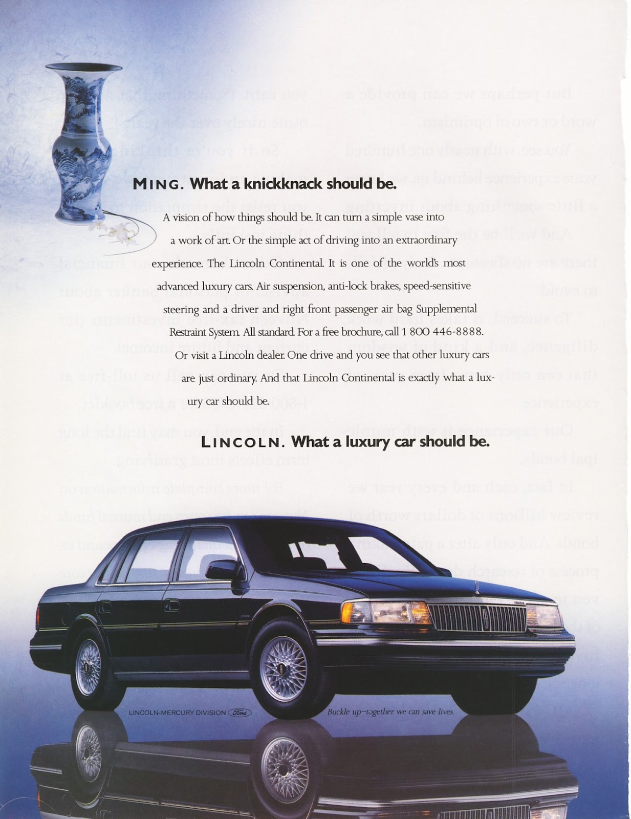 1990 lincoln continental ad ford old magazine ads. Black Bedroom Furniture Sets. Home Design Ideas