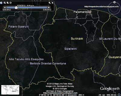 Mapa de SURINAM, Google Earth por la noche