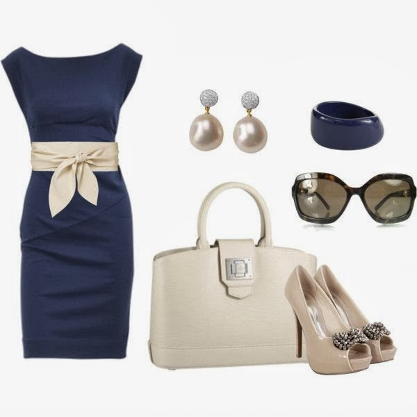 Stylish blue dress, pearl earrings, handbag, sandals and sunglasses
