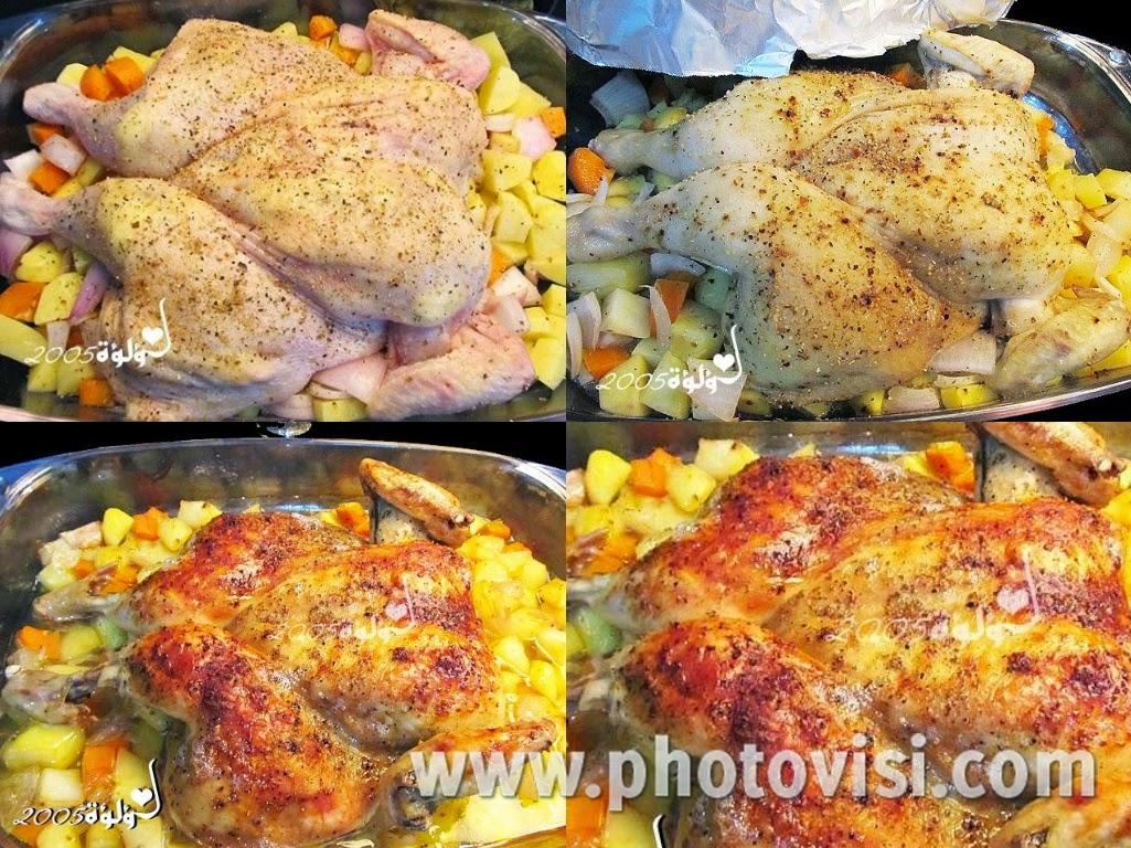طريقة عمل دجاج روستو بالفرن بالزبدة