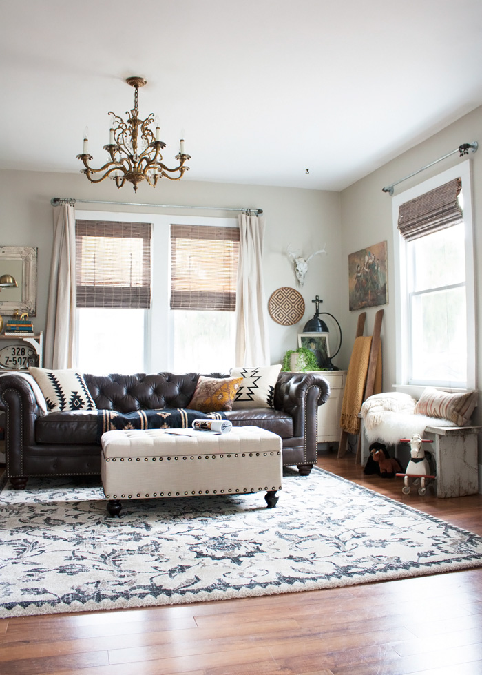 Living Room Redo With A New Leather Sofa