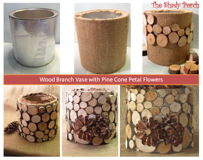 How To Make A Wood Branch Vase #tutorial #coffeecan #branches #craft #burlap