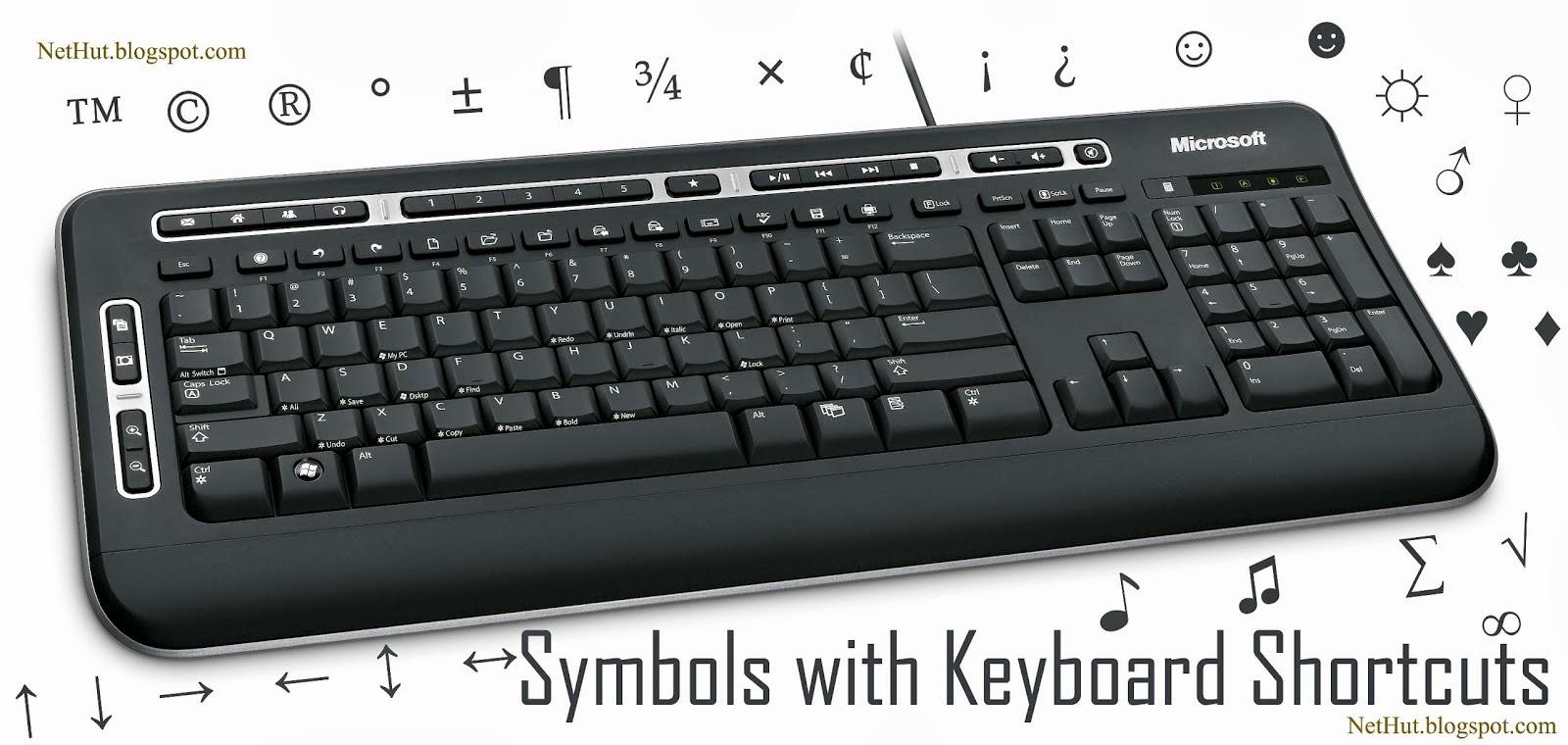 Keyboard Symbols Shortcuts