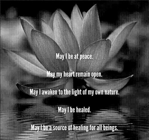 """May I be at peace. May my heart remain open. May I awaken to the light of my own nature. May I be healed. May I be a source of healing for all beings."" ~ Unknown; Picture of a lotus flower."