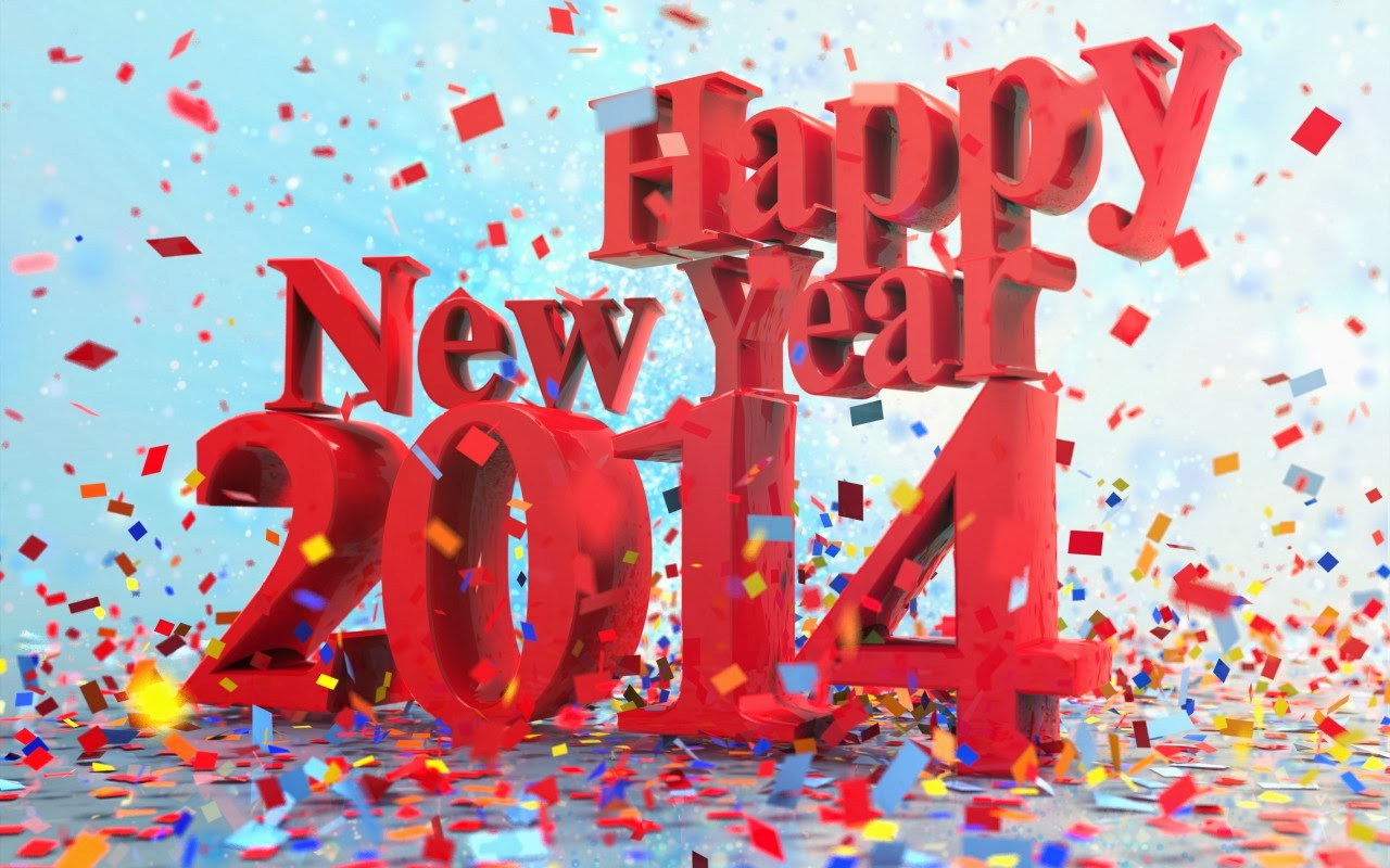Happy New Year 2014 3D Text HD Wallpaper