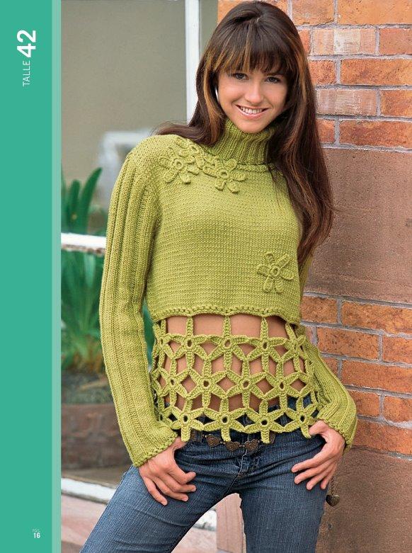 chompa verde con flores a crochet