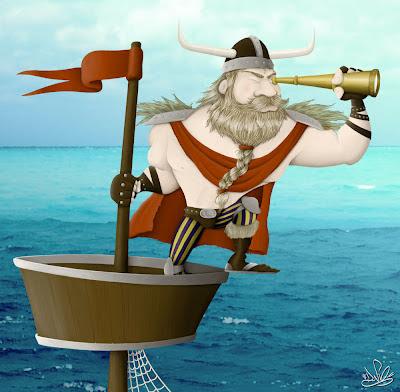 caricatura viking terra a vista