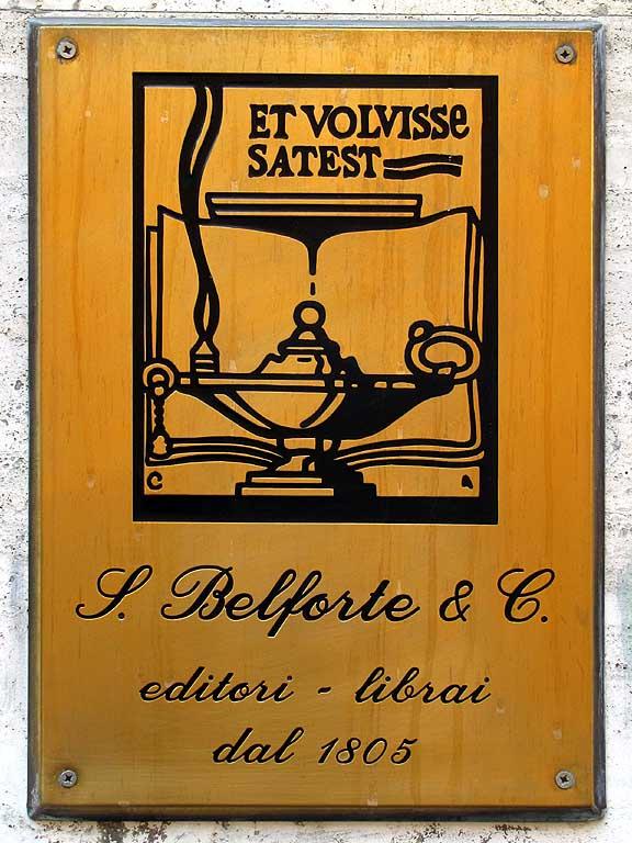 Belforte bookshop plaque, Livorno