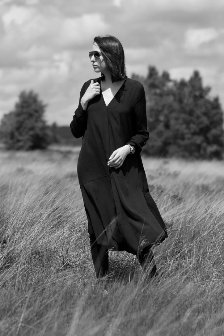 Long black shirt dress with v neck