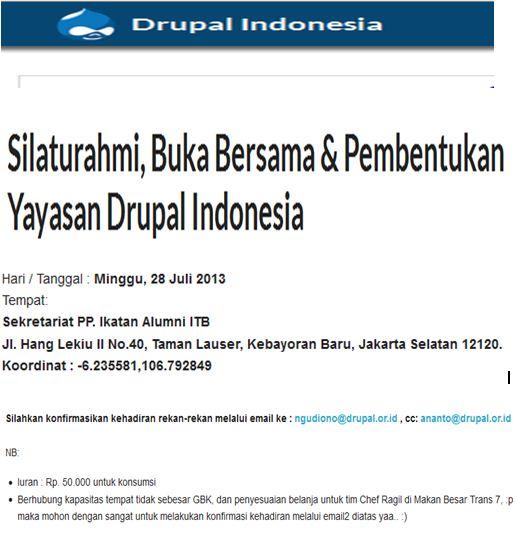 Drupal Indonesia adakan Silaturahmi, Buka Bersama & Pembentukan Yayasan Drupal Indonesia