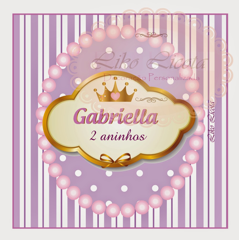 rótulos personalizados coroa com lilás e perolas