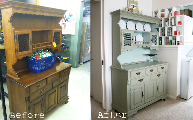 Before and after of updated hutch found at a thrift store. See more photos of this easy DIY here: http://everclevermom.com/2012/03/a-50-hutch-makeover-and-other-life-changing-moments/