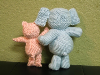 Crocheted Piggie and Gerald Dolls/Figurines