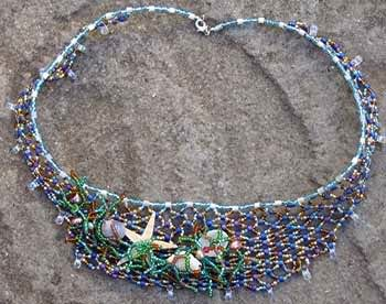 Mermaids Net seed bead necklace