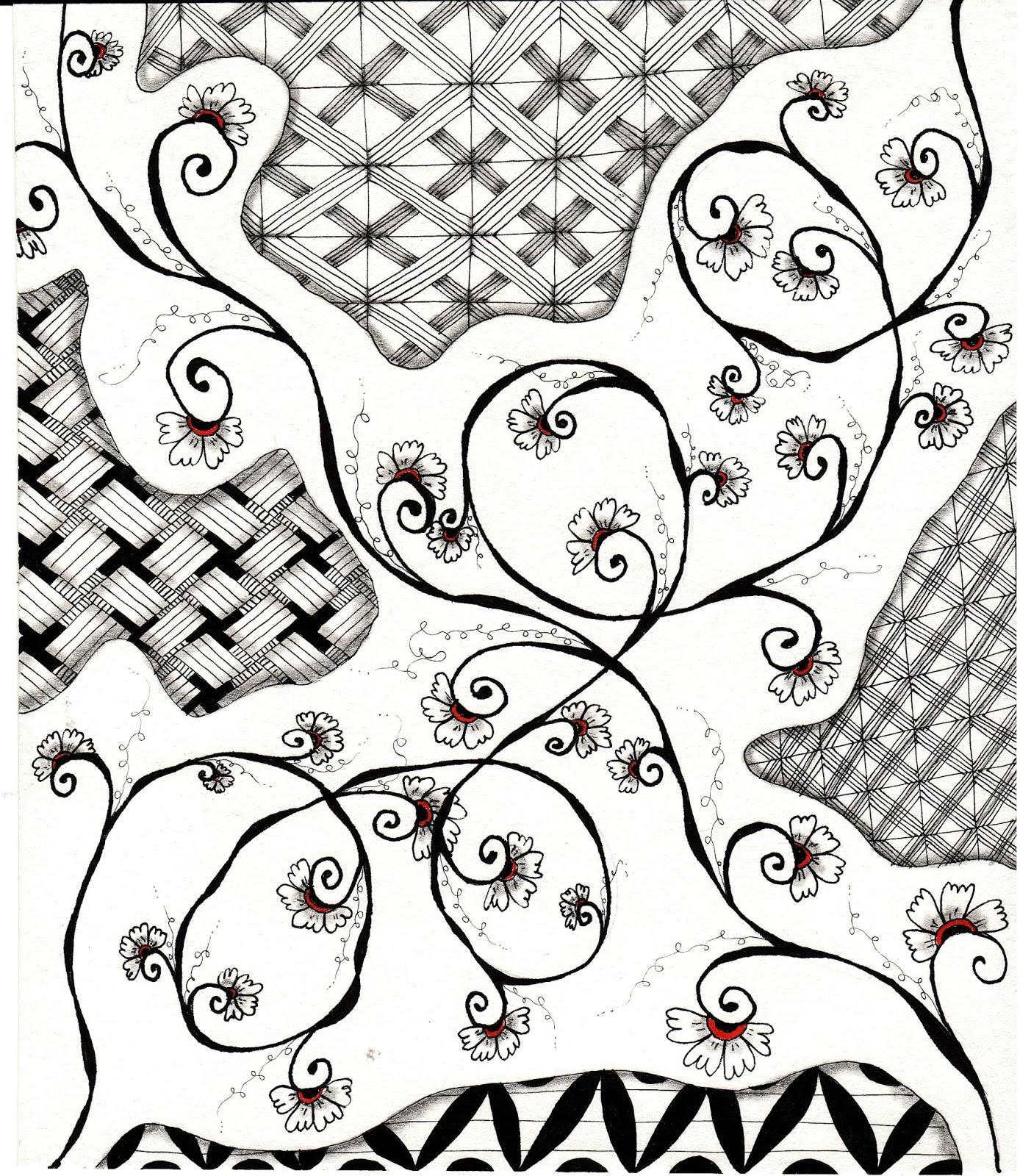 Inquisitive Sue Zentangle Challenge 130 UMT Henna Drum