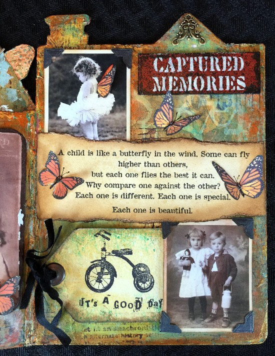 Altered mixed media children's book using DecoArt products-back inside cover