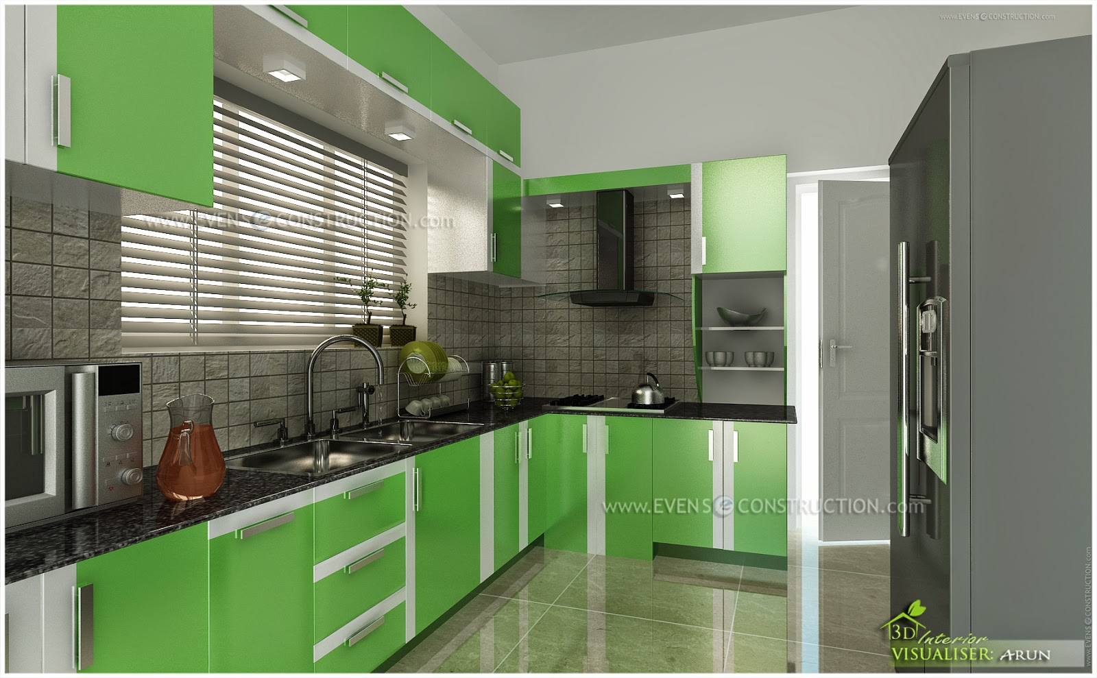 Green Panels Given For Kitchen Cabinets