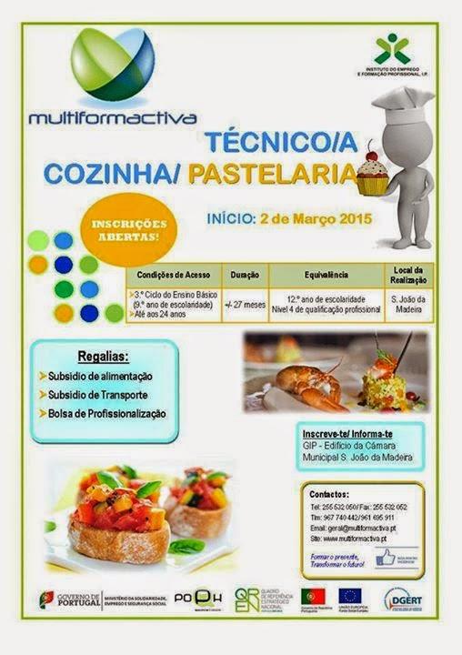 Curso subsidiado de Cozinha e Pastelaria em São João da Madeira