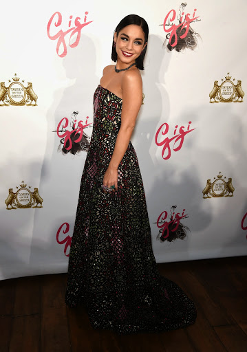 Vanessa Hudgens stunning in strapless dress at Gigi Broadway Opening Night after party