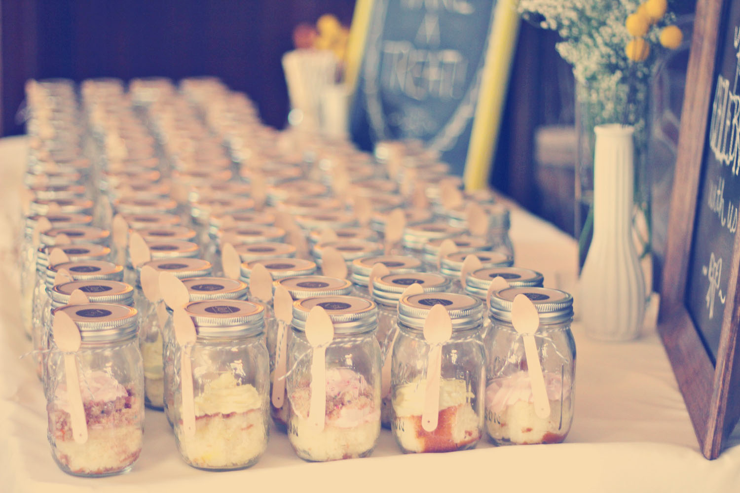 handmade monday cake in a jar wedding favors