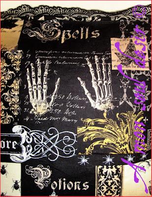 Housse de Coussin Gothique Magie Edgar Allan Poe Crâne Chandelier Squelette Chauve Souris Hibou Gothic Gothik Goth Cushion Cover fabric