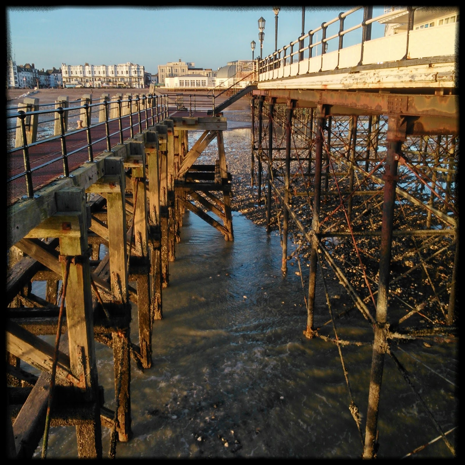 Steel and timber supports under Worthing Pier
