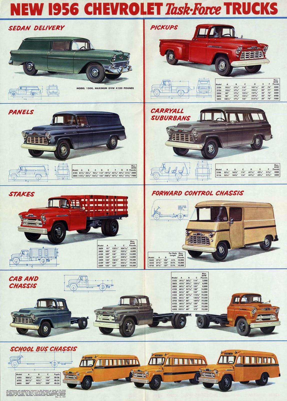 transpress nz  1956 Chevrolet truck  van and school bus brochure